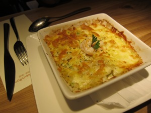 Cheesy seafood rice